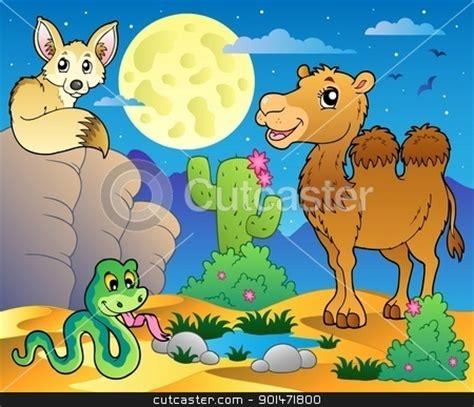 desert scene   animals  stock vector