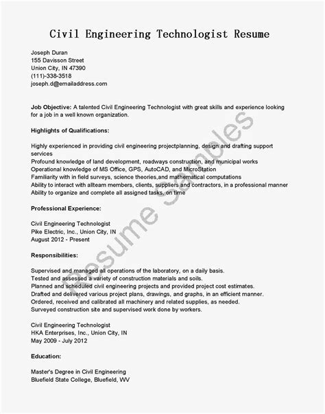 civil engineering technologist resume resume sles civil engineering technologist resume sle