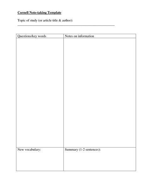 Note Taking Template Note Taking Templates Cornell Note Taking Template