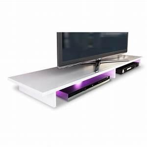 Etagere Pour Tv : tag re pour tv blanc 139 cm achat vente meuble tv meuble tv soldes cdiscount ~ Teatrodelosmanantiales.com Idées de Décoration