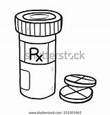 Pill Box Sketch Bottle Medicine Cartoon Coloring Template Pages sketch template