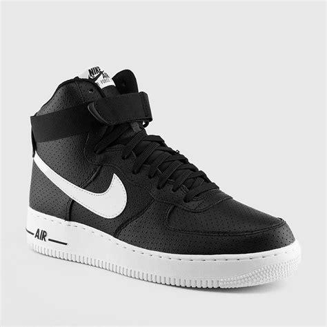 nike mens air force  high  black white