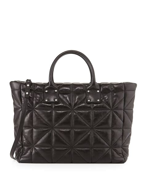 quilted tote bags milly avery quilted lambskin tote bag in black lyst