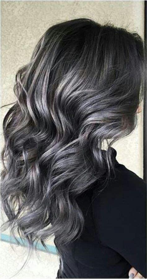 soft smokey silvergrey highlights  dark hair hair