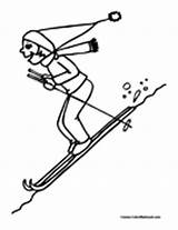 Skiing Coloring Pages Water sketch template