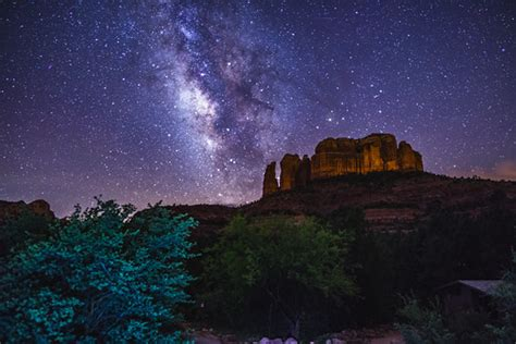 Milky Way Over Cathedral Rock View The