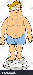 Overweight Man Underwear Standing On Scale Stock Vector ...