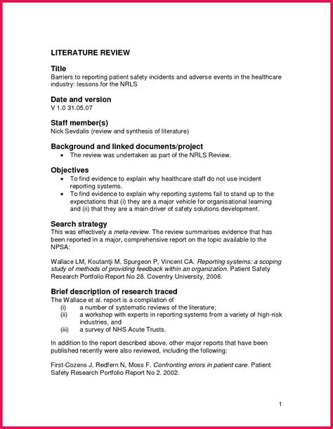 Literature Review Template Apa Literature Review Template Sop Exles