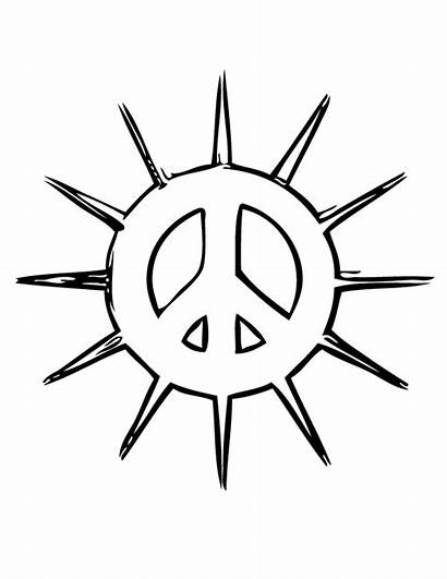 Peace Coloring Pages Sign Signs Printable Sun