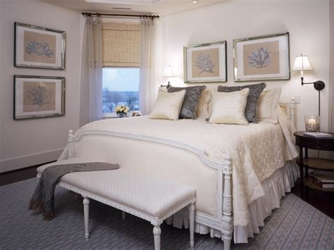 white and beige bedroom with gray accents hgtv