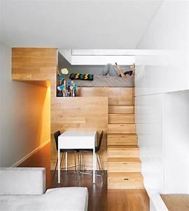 Holz Für Hochbett : kleine wohnung einrichten mit hochbett und treppe aus holz ~ Michelbontemps.com Haus und Dekorationen