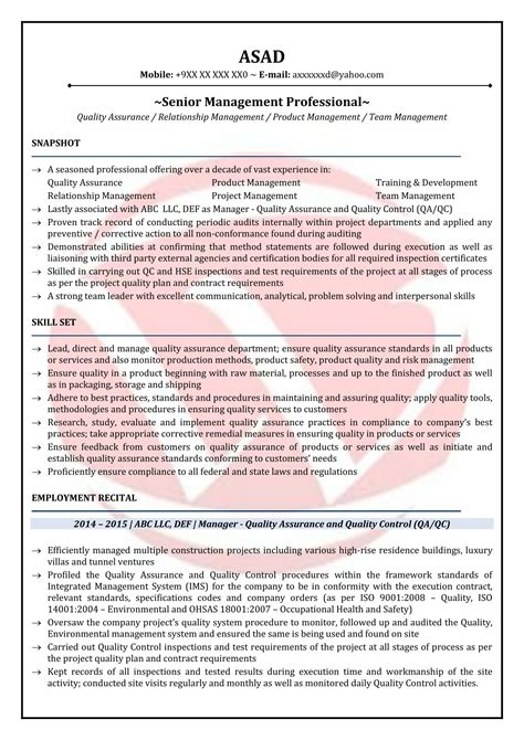 Quality Manager Resume by Qa Manager Sle Resumes Resume Format Templates