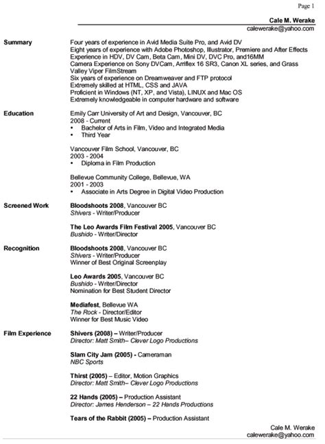 What Categories Should A Resume by Resume Cale M Werake
