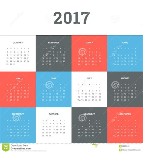 kalender 2017 vektor abbildung illustration