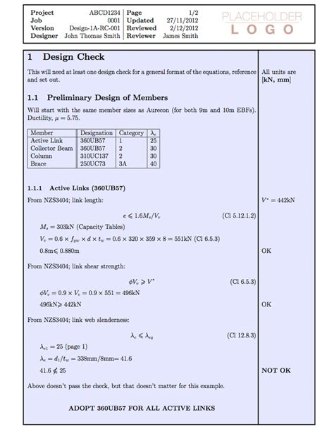 latex templates engineering calculation paper