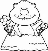 Coloring Groundhog Pages Happy sketch template