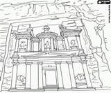 Petra Coloring Building Jordan Monuments Asia Historical Edificio Sights Printable Giordania Storico India sketch template