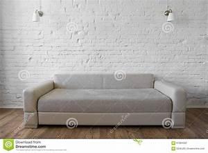 White Brick Wall Wooden Floor Beige Sofa Loft Stock Photo