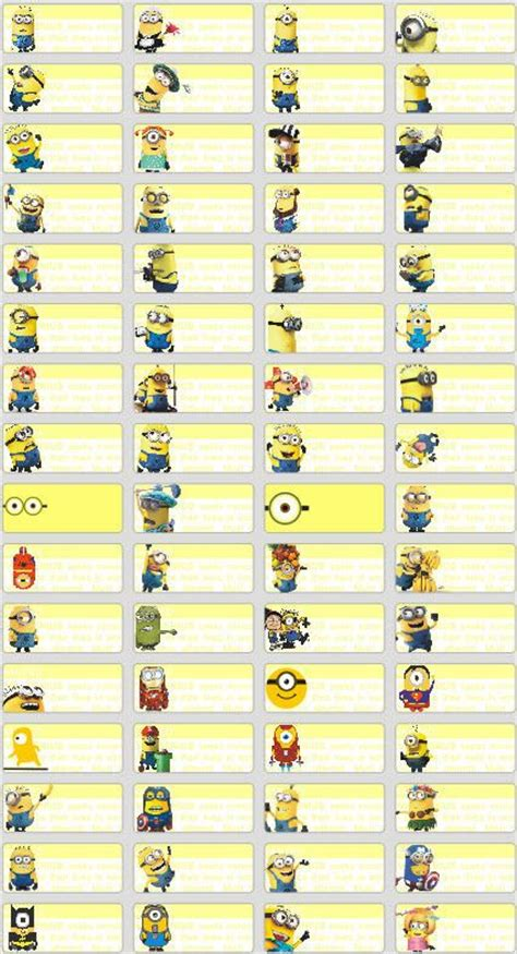 details   minions mini  label sticker