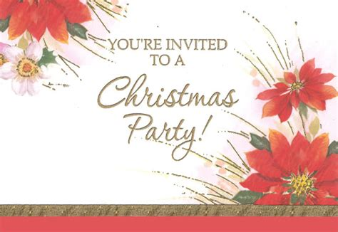 poinsettias christmas party invitations  pack