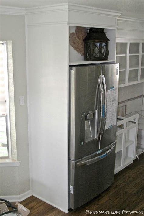 small white kitchen makeover  built  fridge