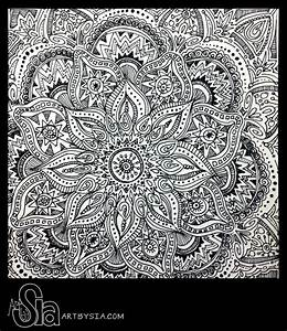 Original Zentangle Doodle Drawing Modern Abstract Art Pen