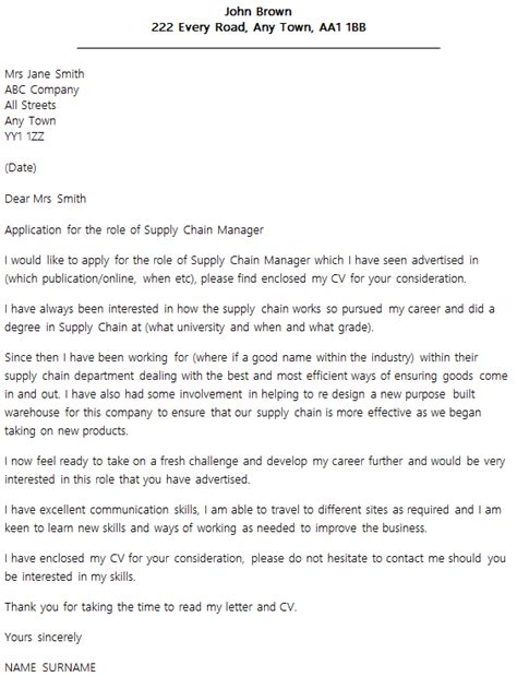 Cover Letter Supply Chain Internship by Supply Chain Manager Cover Letter Exle Icover Org Uk