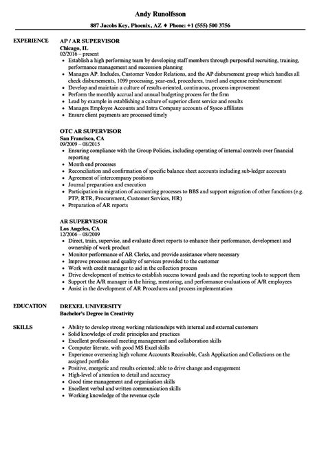 Ar Resume by Ar Supervisor Resume Sles Velvet