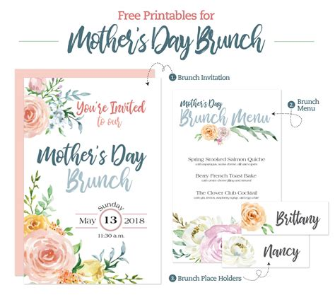 mothers day brunch printable menu invitation  place