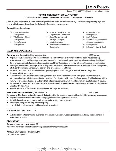 Event Manager Resume by Hotel Event Manager Resume