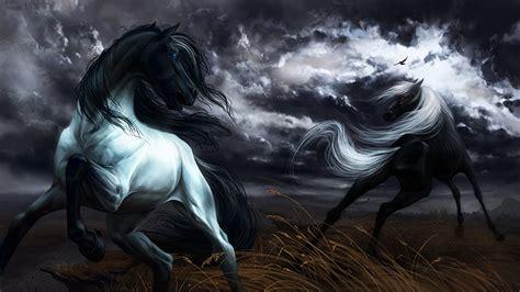 horses running  animals painting art