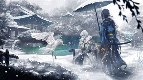 Anime Snow Wallpaper - touken ranbu tsurumaru mikazuki iceanimal anime