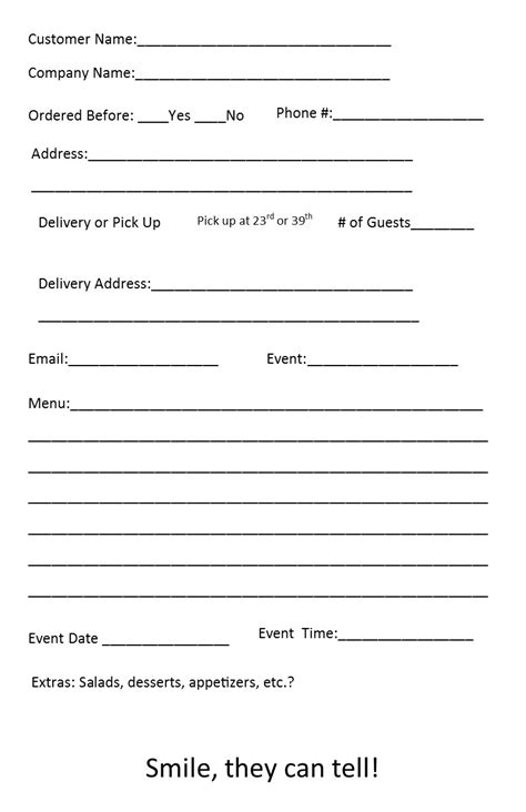 Free Catering Order Form Template – Independent Restaurant