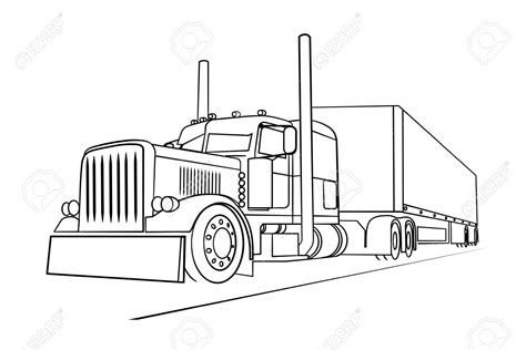 Truck Sketch Drawing Semi Truck Outline Drawing Drawing Of