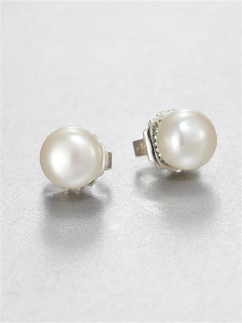lyst lagos freshwater pearl  sterling silver stud