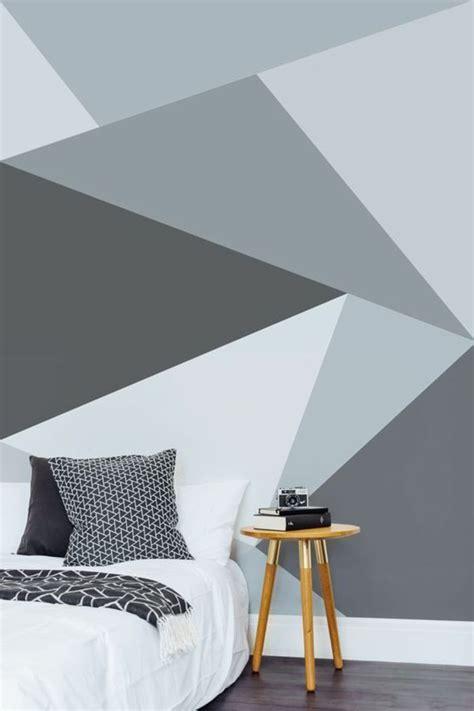 Wandgestaltung Wohnzimmer Muster wandgestaltung ideen schlafzimmer wandtapete geometrisches