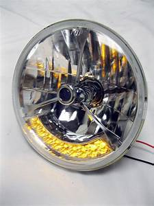 Street Hot Rod 7 U0026quot  Tri Bar Blue Dot H4 Headlights Pair Amber Led Turn Signals 12v