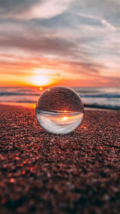 Glass Ball Reflection Sunset Sea Crystal Macro