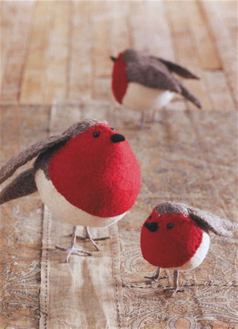 american robin birds felt ornaments holiday decor set