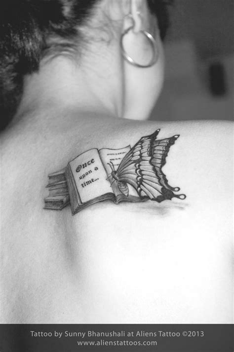 Butterfly reading Book Tattoo, Inked by Sunny at Aliens Tattoo, Mumbai