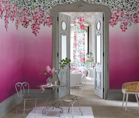 trailing rose panel  designers guild peony mural