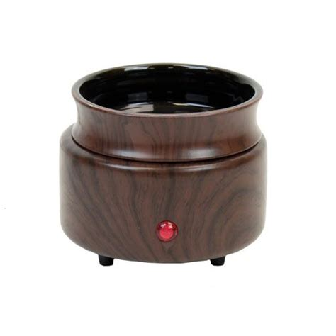 Electric Candle Warmer L by Walnut Wood Finish 2 In 1 Ceramic Stoneware Electric
