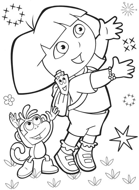 Coloring Pages: Free Dora And Boots Coloring Pages Dora