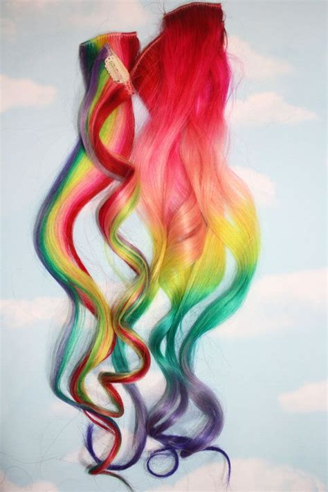 Rainbow Human Hair Extensions Colored Hair Extension Clip