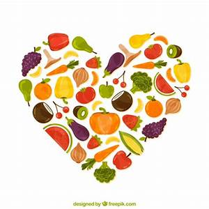 Heart made of healthy food Vector | Free Download