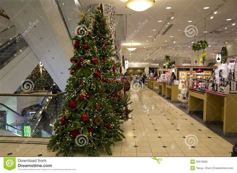 department store mall shopping christmas tree lights