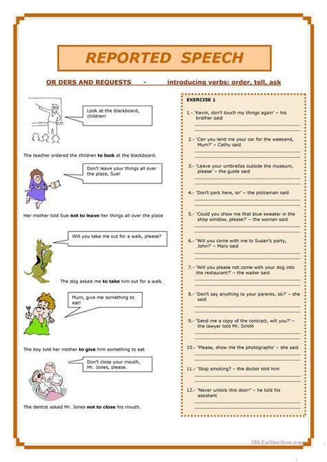 reported speech worksheet free esl printable worksheets