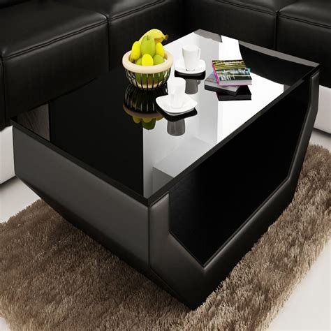 New listinggoldfan nest of 3 tables modern high gloss coffee table set living room bedside. Contemporary Black Leather Coffee Table w/Black Glass ...