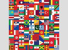 Square background with some of world flag icons Stock