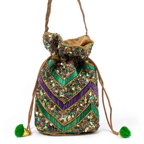 mardi gras zigzag drawstring handbag      mardigrasoutletcom